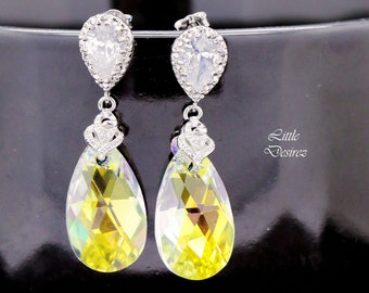 Crystal Bridal Earrings Swarovski Crystal AB Earrings Aurora Borealis Sterling Silver Posts Cubic Zirconia Teardrop Wedding Jewelry CC32P