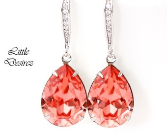 Coral Earrings Peach Bridal Earrings Swarovski Rose Peach Stone Bridesmaid Earrings Coral Peach Beach Bridal Earrings Sterling Silver CO31H