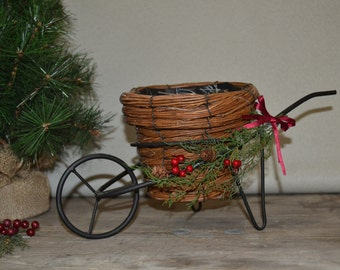 Farmhouse Wheel Barrow Planter Cart Christmas Decoration