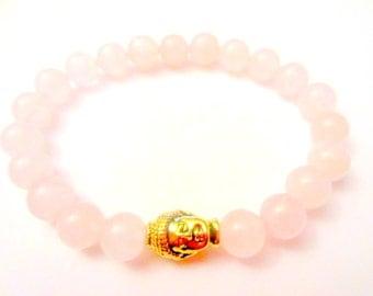 Womens Bracelet. Heart Chakra. Buddha Bracelet. Rose Quartz. Chakra Bracelet. Womens Jewelry. Buddha Statue. Yoga Gifts. Mala Beads.