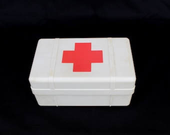 Red Cross Box Medical Box First Aid Box Medicine Chest Red Cross Cabinet Soviet Vintage, Russian Red Cross Box