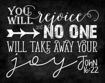 Scripture Art - John 16:22 ~ Chalkboard Style