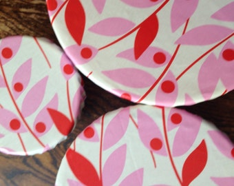 Reusable Bowl Cover Set of 3 Modern Red Pink Print
