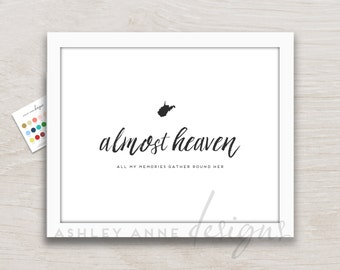 West Virginia Art Print, Almost Heaven Artwork WV State WVU College Decor, Pick Your Color