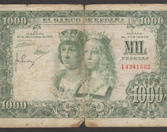 Spain 1957 1000 Pesetas pick number 149a