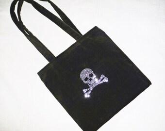 Green Velvet Rhinestone Skull Bag