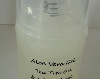 Aloe vera gel with Tea Tree oil and witch hazel-acne-blemishes-spots-100% Natural ingredients.