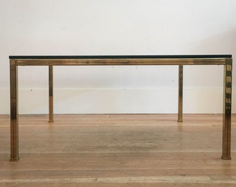 Vintage Brass and Glass Coffee Table