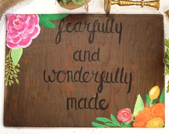 Wood Sign, Fearfully And Wonderfully Made, Rustic Home Decor, Handpainted Wood Art, Rustic Wall Art, Rustic Hand painted Sign, Handmade sign