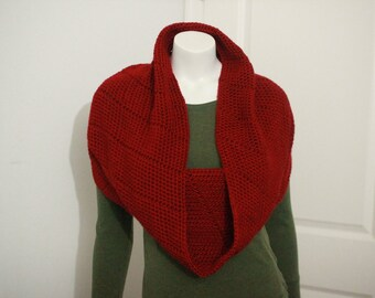 Autumn Red Crochet Infinity Hooded Scarf