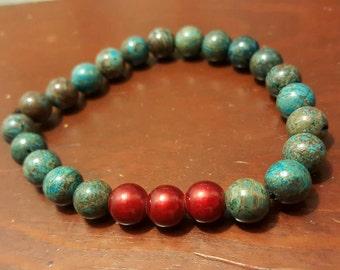 Womens sky jasper and cranberry beaded stretch bracelet.