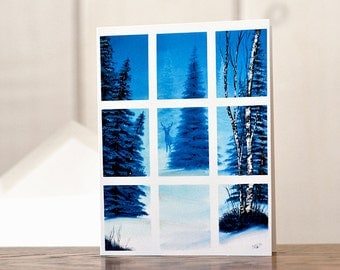 Winter wonderland Christmas card, winter window holiday card, whitetail deer card, blue Christmas card, glittered stationery hostess gift