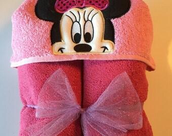 Miss Mouse Hooded Towel, Kids Bath Towel, Character Hooded Towel