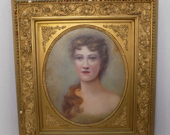 "Gilt Gesso Antique Frame - Victorian Woman Oil Painting Canvas - Art Nouveaux Neoclassical French Regency Wall Hanging 24""x27"" Washington DC"