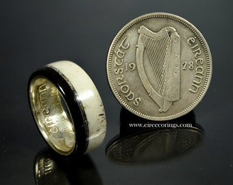 Irish silver half crown ring.
