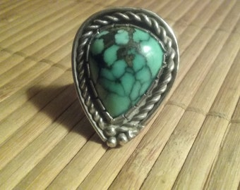 spiderweb turquoise sterling silver ring size 8 Native American vintage