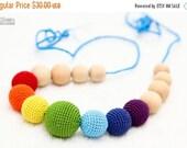 25% off Teething Necklace Rainbow  Waldorf  toy crochet sling necklace.Organic Breastfeeding mom necklace