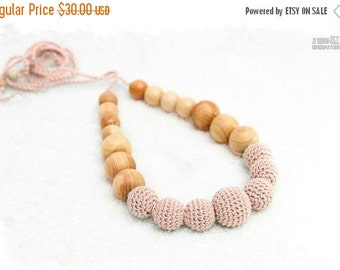 SALE 25% off Blush Solid Organic Teething necklace - Breastfeeding necklace, Teething toy - Babywearing necklace - Chewing necklace