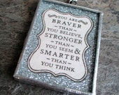 soldered glass pendant frame silver glitter text braver stronger smarter quote jewelry necklace supply
