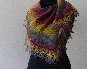 Elegant wool lace scarf - purple, mustard, plum