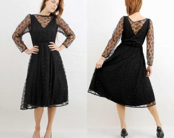 Vintage Black Dress / Guipure Dress / Goth Dress / Midi Dress / Long Sleeve Dress / 80s Dress / Large Dress / Lace Dress / Gotish Dress