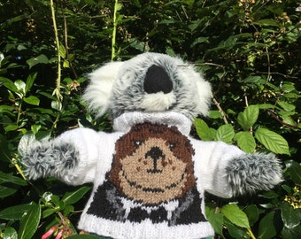 Hand Knitted Sweater with Otter in a dinner jacket to fit Build a Bear animals