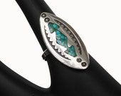 Turquoise Silver  Ring - size 5 1/2 - blue gemstone chip inlay - Sterling - Southwestern Native American