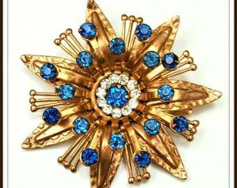 Blue Rhinestone Brooch Flower Atomic mid century gold blue pin