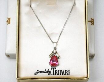 Vintage Pink Crown Trifari pendant necklace NOS