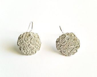 Vintage Style Earrings in Sterling silver, Organic Pattern with Oxidized Silver Jewelry, Unique Dangle Earrings, Handmade in Canada
