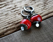 Red Coral Earrings Artisan Modern Small Nuggets Sterling Silver Jewelry by Letemendia RESERVED FOR ANNE