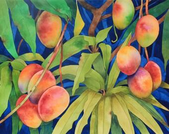 New Painting.....Art Original Watercolor Painting HAKALAU MANGOES