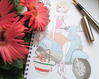 Designer ROME Notebook, feminine, chic gift fashion illustration, fashion notebook, fashion sketchbook, Italy sketchbook, Italy print, vespa