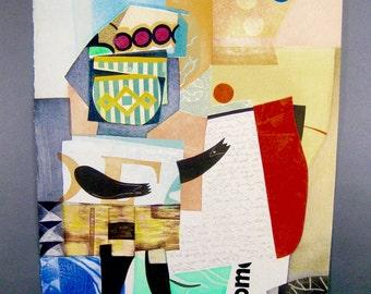 """MAX PAPART; """"Bonne Nouvelle"""", Original Vintage Cubist Cubism Serigraph Print, Hand Signed, Limited Edition ( 149/195 )"""