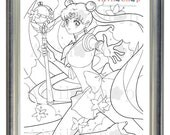 Sailor Moon USAGI Tsukino adult COLORING Page Children, Adult Color Page, DETAILED, Instant Download