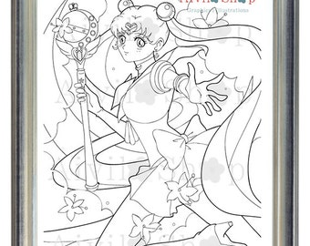 Sailor Moon Usagi Tsukino Adult COLORING Page SALE Children Color DETAILED