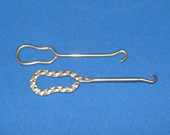 """Two Victorian """"Glovehooks"""" ... Everyday Utilitarian Metal Glovehooks ... One is 3 3/4  Inches the Other is 3 1/2 Inches."""