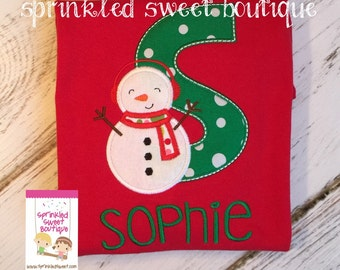 Boys Girls Christmas Snowman Applique Monogram Name Holiday Custom Shirt