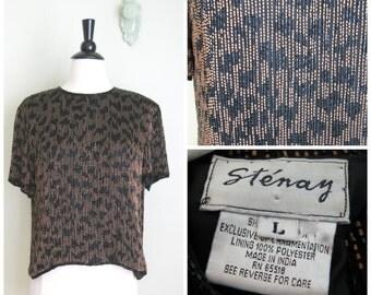 Vintage 1980's Sequined Top// Animal Print// Stenay
