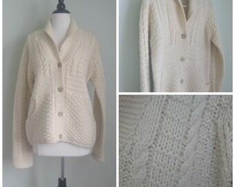 Vintage Cream Nubby Sweater// Cableknit// Cardigan// Shawl Neck