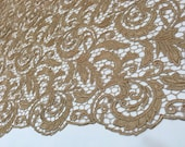 Tan/gold  Fabric, Beige Material, Guipure Lace, Beige Lace, Lace Fabric (C4)