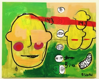 """Biology of Love by B. Schuman 16""""x20"""" Original Abstract Urban Expressionist Painting"""