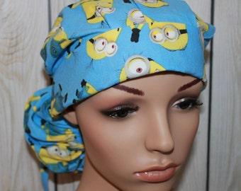 Minions,Surgical Scrub Hat ,Scrub Cap,OR Nurses Cap,Vet,Vet Tech,Front Fold  Ponytail