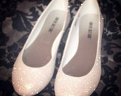 Ivory Glitter Bridal Shoes - Wedding Flats