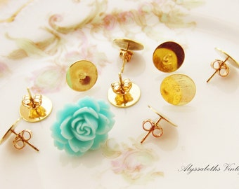 Gold Plated Earring Stud Post with 10mm Pad and Clutches  – 10 Pairs