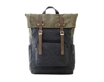 Laptop Backpack / Casual Daypacks / Canvas Gray / CITYCARRY