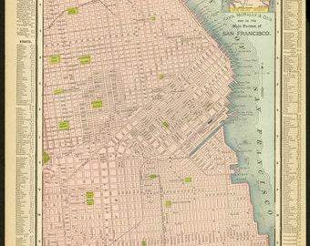 Vintage Map San Francisco From 1895 Original