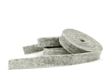 Wool Felt - 100 Percent Wool Felt Ribbon in color HEATHER GRAY - 1/2 Inch X 2 Yards - Merino Wool Felt - Heather Gray Ribbon