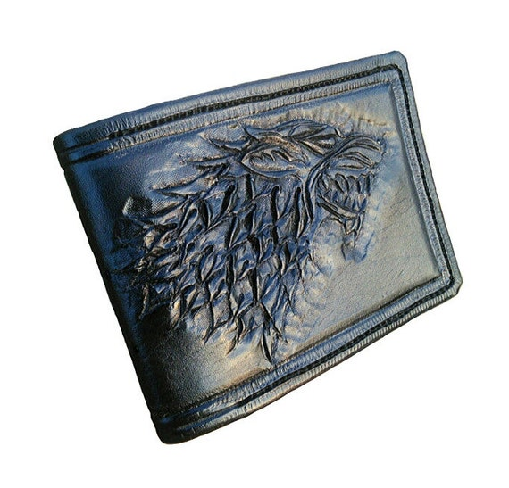 Game of Thrones; House Stark Sigil, Leather Wallet holds cards and notes and has a coin holder