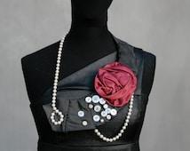 Sale, Silk necktie necklace, black& red flower collar, eco frioendly, upcycled neckties